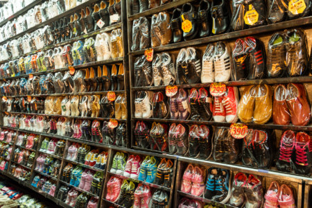 A wall of shoes at Douliu Renwen Park Night Market