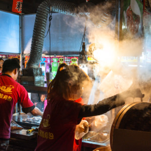 Steam rises from a Guabao stall