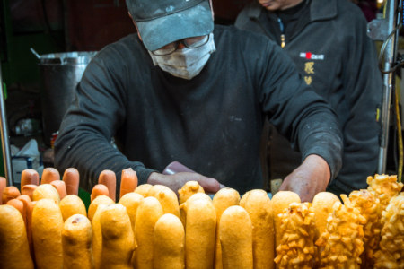 Corn dogs at Douliu Renwen Park Night Market