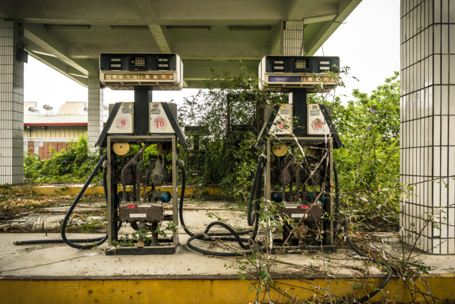 Derelict Pumps at an Abandoned Gas Station in Yunlin