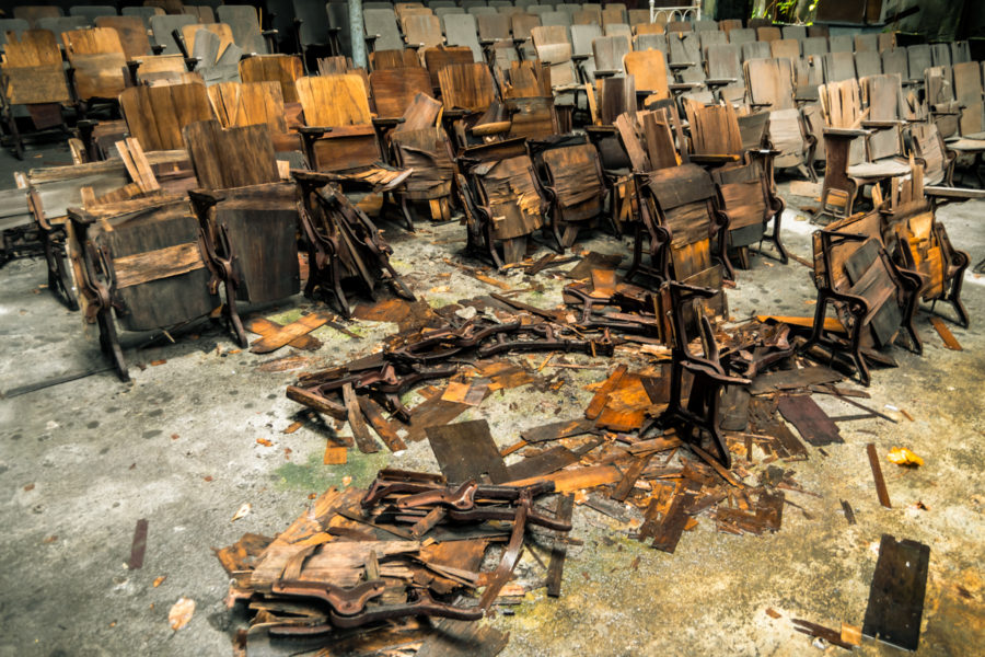 Rotting Chairs Inside the Old Cinema