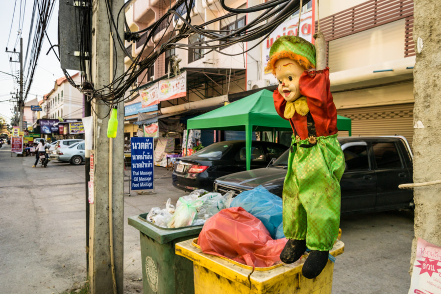 A creepy doll hanging out on the streets of Chiang Mai