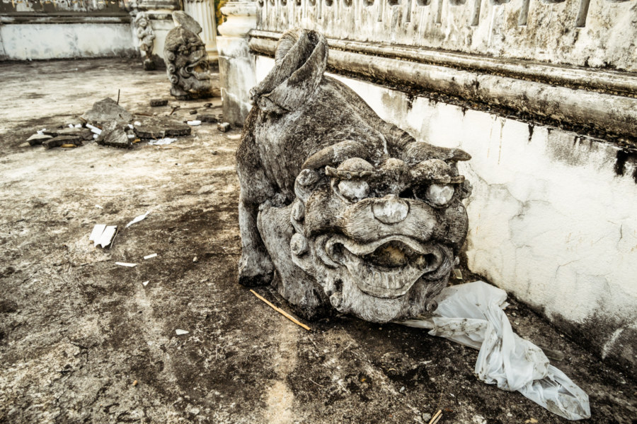 Strange stone figures at the White Lion House