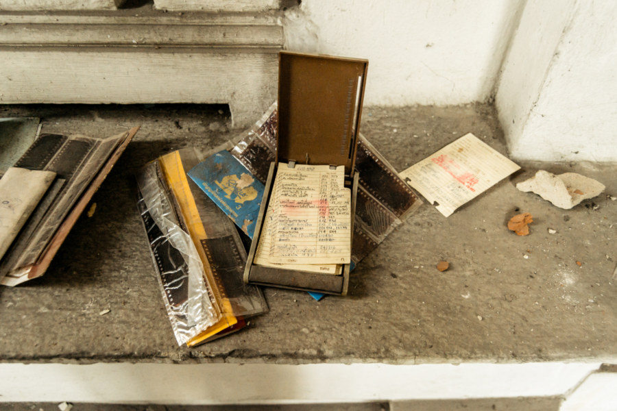 An old phone book and photos at the White Lion House
