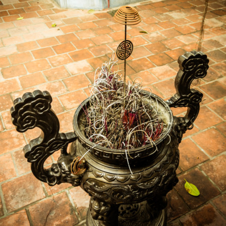 Curly incense in front of Dinh Dong Thanh