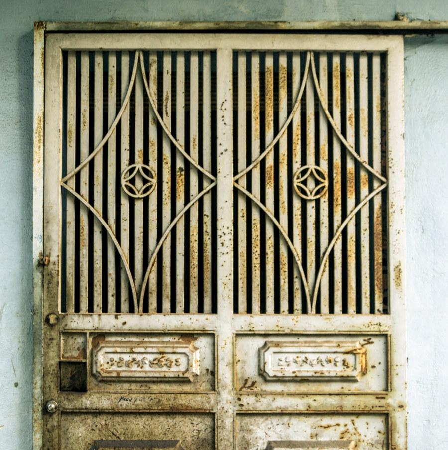 One of countless metal doors in Hanoi