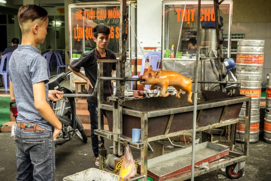 Suckling pig outside the back of Hanoi Station