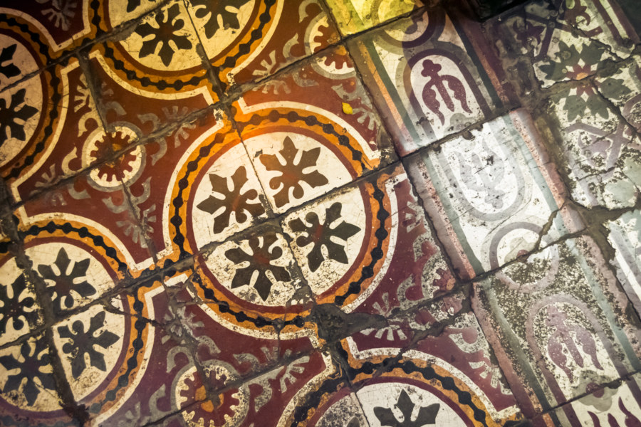 Ornate tile on the floor of the Lake View Cafe, Hanoi