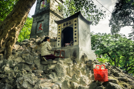 A shrine to the mountain god next to Hoan Kiếm Lake