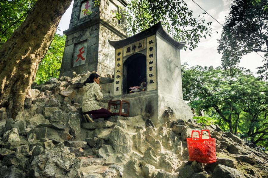 A shrine to the mountain god next to Hoan Kiếm Lake