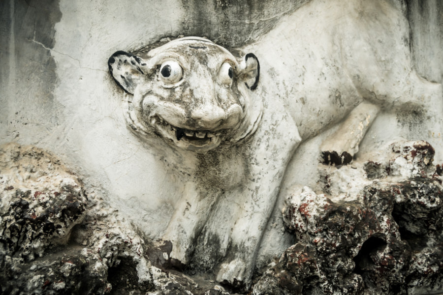 Silly tiger outside Quan Thanh Temple