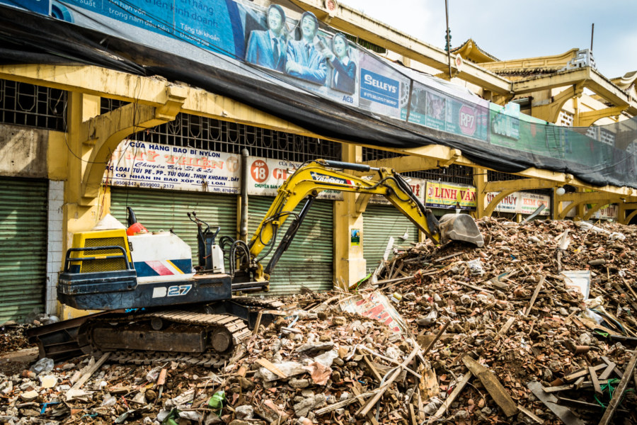A path of destruction in front of Binh Tay Market